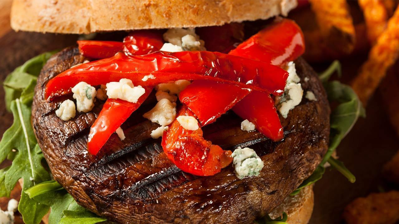 Rezepte für Portobello-Burger / ein Portobello-Burger