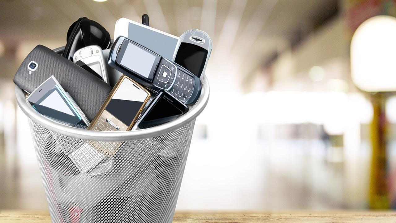 Doing without a mobile phone during Lent - bucket full of telephones