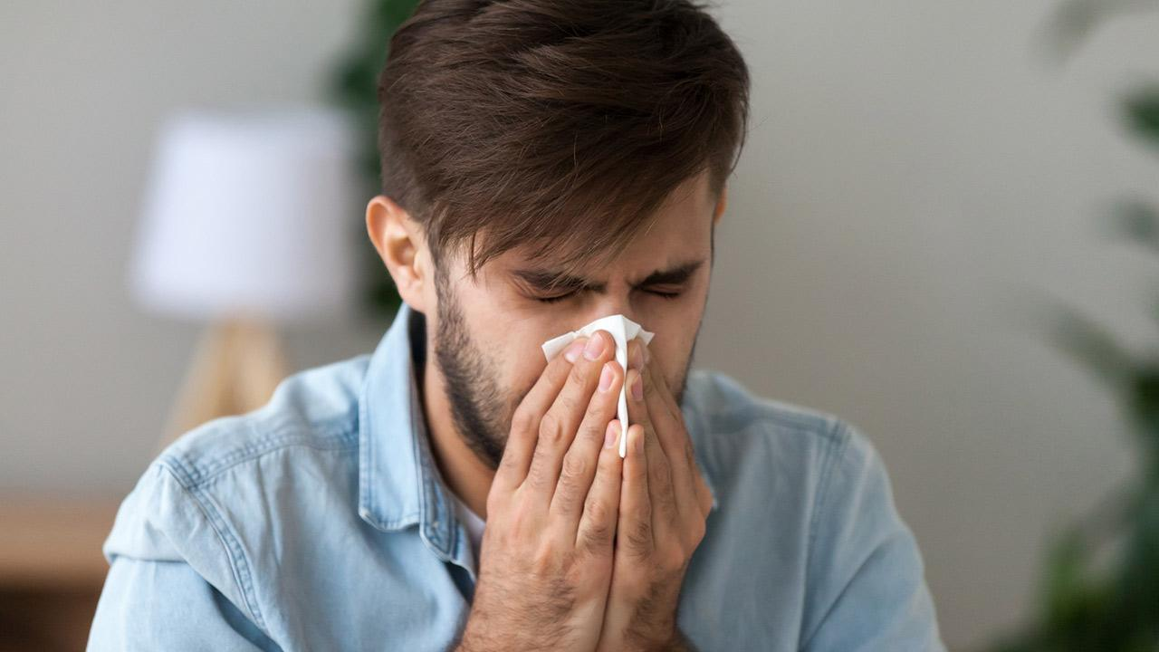 SOS - Hay fever in summer / a man sneezes