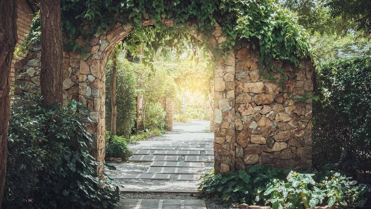Natural privacy protection through ivy - over the stone arch