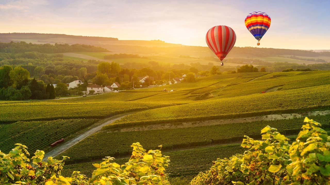 Ballooning - A view over Germany - over the vineyards